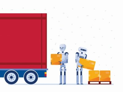 荷物をトラックに積む人